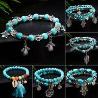 Bohemian Charm Turquoise Beaded Tassel Bracelet Set Women Ladies Jewellery Beach