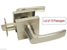Lot of 10 Satin Nickel Square Plate Passage Lever Handle Door HallWay Closet