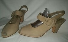 Cute SAM & LIBBY Size 10M Peep Toe Open Heel M.J.Buckle Strap Thick  Heel Shoes