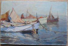 Post Impressionnisme Tableau Marine Voiliers au port Peinture signée D T Richard