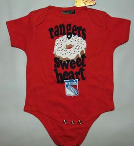 New York Rangers Reebok Bodysuit 6/9 M Infant Baby DOUGHNUT * SWEET HEART * NEW