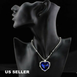 Titanic Heart of The Ocean Sapphire Blue Crystal Necklace Pendant Chriatmas Gift