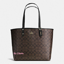 New Coach F36658 Reversible City Tote Handbag Purse Coated Canvas Brown/Black