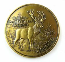 #e7920 DDR caccia Ledger Hirsch MEDAGLIA colori oro 40 anni DDR 1989