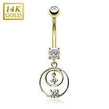 14K Solid GOLD BELLY Button NAVEL Bar RINGS Piercing Jewelry *LOOPS GEM DANGLE