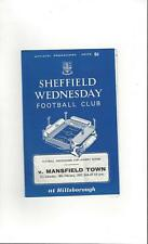 Sheffield Wednesday v Mansfield Town FA Cup Football Programme 1966/67