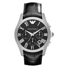 6e67499df22a Emporio Armani AR1633 Correa De Cuero Negro Plata Reloj con Cronógrafo Para  Hombre