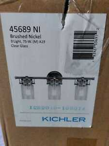 Brinley 3-Light Brushed Nickel Vanity Light with Clear Glass by KICHLER