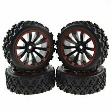 Rowiz 4 x Off-Road Wheels 12Mm Hex Tires Crossing Tyre for Rc 1:10 Cars Black