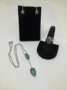 The Genuine Gemstone Company Turquoise Ring Earrings and Necklace Set
