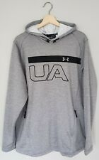 Under Armour Cold Gear Mens Hoodie L Gray Black Long Sleeve Zip Pockets Fitted