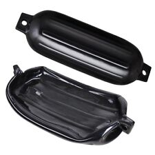 """4pcs Ribbed Boat Fender 8""""x27"""" Inflatable Bumper Dock Shield Protection Black"""