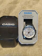 Casio Men's Quartz Silver Chronograph Black Leather Watch