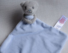 TESCO F&F GREY BLUE TEDDY BEAR BLANKIE Comforter Soft Toy NEXT DAY POST