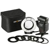 K&F Concept E -TTL Macro Ring Flash Speedlite for Canon Camera + 6 Adapter Rings