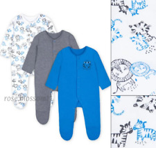 Mothercare Baby Boys Blue Lion Sleepsuits Babygrows 3 Pack NEW
