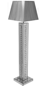 Mirrored glass Sparkly crystals floor lamp with square Silver Shade 175cm/ Home