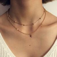 Halbmond Sterne Kette Doppel Halskette Filigran Doppelkette Choker