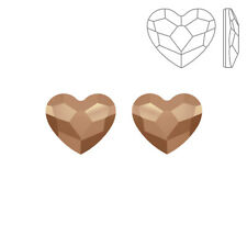 Swarovski Crystal Hotfix 2808 Heart Flatback 10mm Rose Gold Pack of 2 (K73/2)