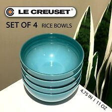"SET OF 4 New Le Creuset Stoneware 4.75"" Rice Bowl Caribbean Blue 330 mL / 11 oz"