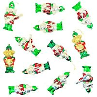 Vintage Christmas Blow Mold Ornaments Lot of 12 Hard Plastic Shiny Red Green EUC