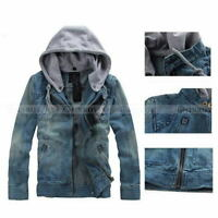 Casual Autumn Men's Hooded Jeans Jacket Denim Coat Long Sleeves Slim Fit Tops