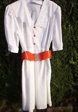 WESTERN LOOK WHITE DRESS Broderie Anglaise  Red Belt and Buttons MEDIUM SIZE 14