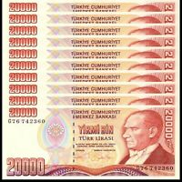 Lot 10 PCS, Turkey 20000 Lira, 1995, P-202, UNC