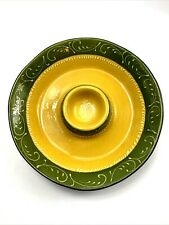 Crate & Barrel Ceramic Bowl Sombrero Chips And Dip Green And Yellow