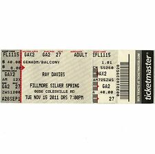 THE KINKS RAY DAVIES Full Concert Ticket Stub FILLMORE 11/15/11 SILVER SPRING MD