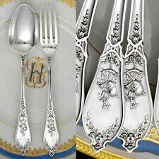 Antique French Sterling Silver Flatware Set, LAPPARRA, Musical Instruments Motif