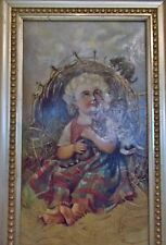 Victorian Girl Child Kitten animal Beach Antique art Oil framed Painting estate