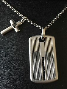 """NWT STERLING SILVER 1/4 Ctw BLACK DIAMOND MEN'S CROSS/Dog Tag NECKLACE 22"""" $650"""