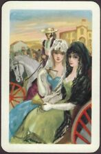 Playing Cards 1 Single Card Old Vintage SPANISH GIRLS in Wagon MAN Riding HORSE