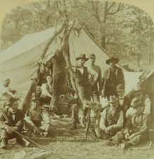 Underwood & Underwood Stereoview Hunters in Camp Displaying Game they Shot 1900