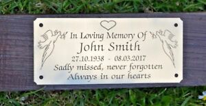 """MEMORIAL BENCH PLAQUE GRAVE MARKER SIGN 5"""" X 2"""" PERSONALISED SOLID BRASS"""