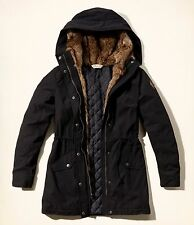 NWT Hollister Heritage Faux Fur Lined Parka Jacket Coat Outwear,Black, Large