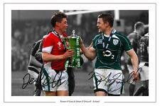BRIAN O'DRISCOLL & RONAN O'GARA IRELAND RUGBY SIGNED AUTOGRAPH PHOTO PRINT