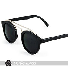Black Silver Tortoise Metal Bridge Bar Round Circle Sunglasses Classic S086