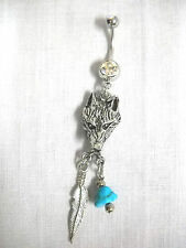 PEWTER WOLF HEAD w FEATHER & TURQUOISE GEM CHARMS ON DBL CLEAR 14g CZ BELLY RING