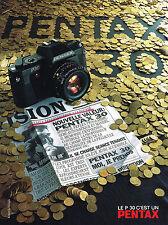 PUBLICITE ADVERTISING  1985   PENTAX  appareil photo P30