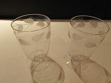 Vintage Elegant Glass - Footed Tumbler - Etched Leaf Border - (2 )  Beautiful