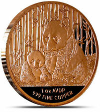 Chinese PANDA Coin  AVDP 1 oz. ounce .999 Fine Copper, 2012 NEW, Uncirculated