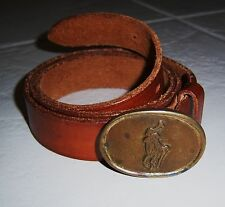 Polo Ralph Lauren Leather Belt w Polo Player Buckle Size 34 VINTAGE