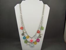 Silver faux pearl multi strand layered chain painted enamel Flower long necklace