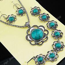 New Turquoise Silver Necklace Earring Bracelet Vintage Women Flower Jewelry Set
