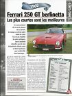 VOITURE FERRARI 250 GT BERLINETTA FICHE TECHNIQUE AUTO 1960 COLLECTION CAR