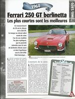 VOITURE FERRARI 250 GT BERLINETTA FICHE TECHNIQUE AUTO 1960 COLLECTION CAR
