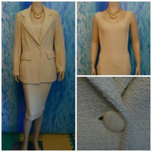 ST. JOHN Collection Knits Yellow Gold Jacket New Dress L 12 10 2pc Suit Pockets
