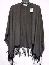 NWT Calvin Klein 2X 3X Fringe Sweater Wrap Poncho Neutral Heather Gray NEW